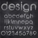 Vector sketched font. Abstract vector illustration of chalk sketched font on blackboard Royalty Free Stock Photos