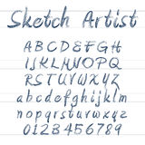 Vector sketched font Royalty Free Stock Images