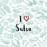 Vector sketched mexican food elements background with lettering royalty free illustration