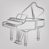 Vector sketched piano Royalty Free Stock Photo