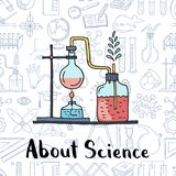 Vector sketched science or chemistry elements science elements background. Vector sketched science or chemistry elements composition with lettering on science Stock Images