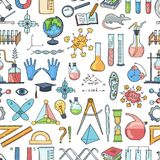 Vector sketched science or chemistry elements pattern or background. Vector colored sketched science or chemistry elements pattern or background illustration Royalty Free Stock Photography