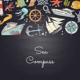 Vector sketched sea elements in color background with place for text. Vector bannner and poster sketched sea elements in color background with place for text Royalty Free Stock Photography