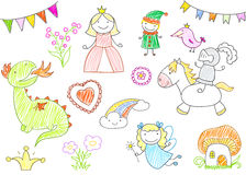 Vector sketches with characters of fairy-tales. Princess, dragon, knight, fairy, elf. Kid drawing style Stock Images