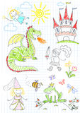 Vector sketches with characters of fairy-tales. Sketch on notebook page Royalty Free Stock Photos