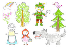 Vector sketches with characters of fairytale Royalty Free Stock Images
