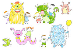 Vector sketches with children and cute monsters Royalty Free Stock Image
