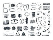 VECTOR Sketches Collection, Sketchbook Doodle Drawings, Set. Royalty Free Stock Photo