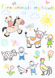 Vector sketches happy childrens and farm animals Royalty Free Stock Images