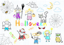 Vector sketches happy childrens Royalty Free Stock Photos