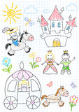 Vector sketches with happy princes and princesses Stock Image