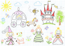 Vector sketches with happy princesses Stock Images