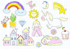 Vector sketches with princess and unicorn Stock Photography