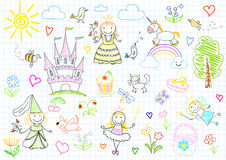 Vector sketches with princesses and fairy Royalty Free Stock Images