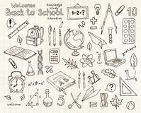 Vector sketches set of school items Royalty Free Stock Photo