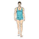Vector SketchFashion Male Model in Underwear Royalty Free Stock Images