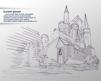Vector sketching of castle. vector illustration