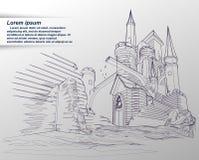 Vector sketching of castle. Vector sketching of castle in cartoon style vector illustration