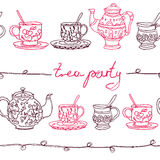 Vector sketchy doodles  tea party seamless pattern. Vector Victorian sketchy doodles  tea party seamless pattern with ta-sets for textile, backdrop, scrapbooking Royalty Free Stock Image