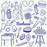 Vector sketchy line art Doodle cartoon set of objects and symbols for barbecue and grill theme Royalty Free Stock Photos