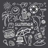 Vector sketchy line art Doodle cartoon set of objects and symbols for summer holidays on blackboard Stock Images