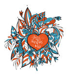 Vector . sketchy love and hearts doodles Royalty Free Stock Photography
