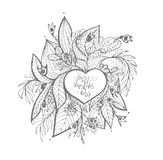 vector . sketchy love and hearts doodles Stock Photography