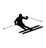 Vector skiërsilhouet Royalty-vrije Stock Foto's