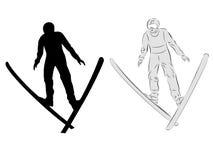 Vector skier jumping Stock Photos