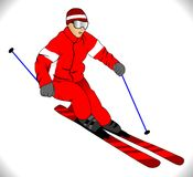 Vector skier in red Stock Photos