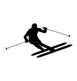 Vector skier silhouette. Vectored illustration with additional format available of ski athlete performing a slalom, isolated Royalty Free Stock Photos