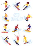 Vector skiers and snowboarders cartoon flat style. Men and women in the ski resort. Winter sport activity. Simple stock illustration
