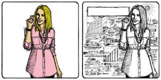Vektorskizze-Geschäftsfrau lizenzfreie abbildung