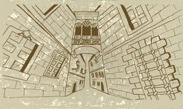 Vector Skizze der neogothic Brücke bei Carrer Del Bisbe stock abbildung
