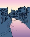 Vector Skizze der schmalen mittelalterlichen Straße mit Brücke lizenzfreie abbildung