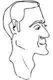 Vector Skizze des Gesichtes eines erwachsenen Mannes Stockfotos