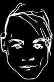 Vector Skizze des Gesichtes eines hübschen jungen Mannes Stockfoto
