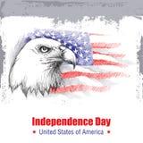Vector Skizze des Weißkopfseeadlerkopfes auf dem Hintergrund mit amerikanischer Flagge auf Weiß Lizenzfreie Stockfotos