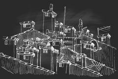 Vector Skizze einer Gruppe der Dachspitzenkamine lizenzfreie abbildung