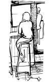 Vector Skizze eines trinkenden Kaffees der allein stehenden Frau an der Bar auf a Lizenzfreie Stockfotografie