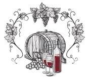 Vector Skizze von Trauben, Weinglas für Design lizenzfreie abbildung