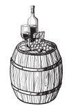 Vector Skizze von Trauben, Weinglas für Design stock abbildung