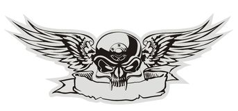 Vector skull. With wings at gray basis. Available EPS-8 separatrd by layers Stock Photography