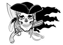 Vector skull with a hat cocked hat. With a gun musket and sword against the black flag, pirate, pirates black and white sketch for tattoo Stock Image