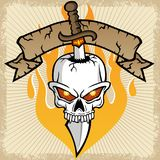 Vector of skull head with sword, banner, flame on splatter frame. White skull head with sharp sword. Vector cartoon illustration, no mesh, vector on eps 10 Stock Photos