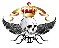 Vector skull illustration with crown and wings Stock Image