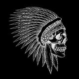 Vector skull of indian chief in hand drawing style Stock Images