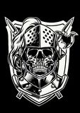 Skull of knight warrior with crossed weapon. Vector of Skull of knight warrior with crossed weapon Royalty Free Stock Image