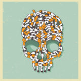 Vector skull made with fag end Royalty Free Stock Image