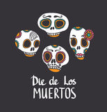 Vector skull set, Mexican day of the dead Royalty Free Stock Photos